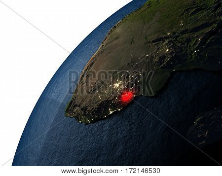 Swaziland In Red On Earth At Night