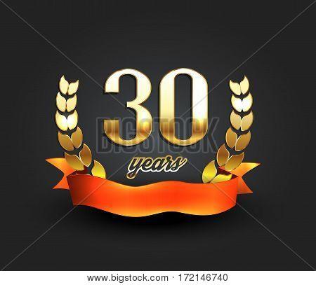 Thirty years anniversary banner. 30th anniversary logo. Vector illustration.
