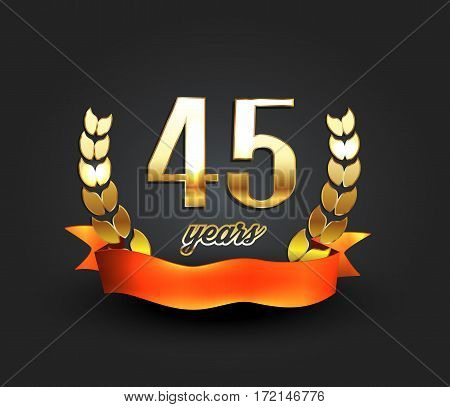 Forty five years anniversary banner. 45th anniversary logo. Vector illustration.