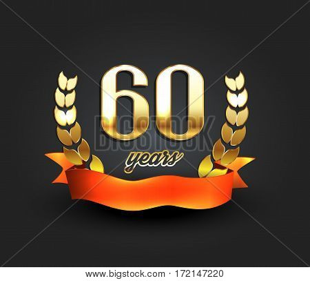 Sixty years anniversary banner. 60th anniversary logo. Vector illustration.