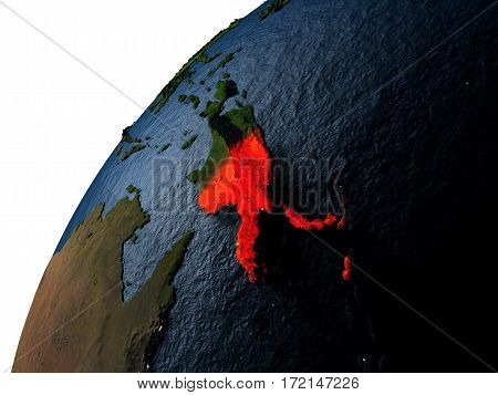 Papua New Guinea In Red On Earth At Night