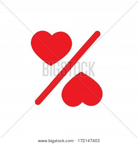 Love percentage. Vector red heart icons. Percentage red web Flat icon in circle on white background