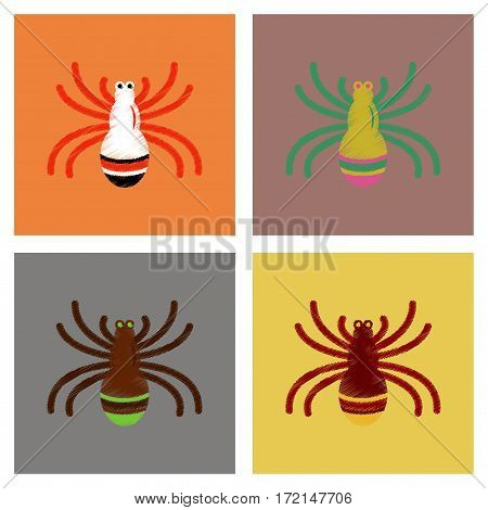 assembly flat shading style icons of halloween spiders