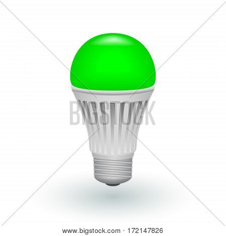 LED green economical light bulb isolated on a white background. Save energy lamp. Realistic vector illustration.