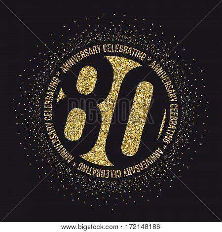 Eighty years anniversary celebration logotype. 80th anniversary logo.