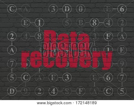 Data concept: Painted red text Data Recovery on Black Brick wall background with Scheme Of Hexadecimal Code