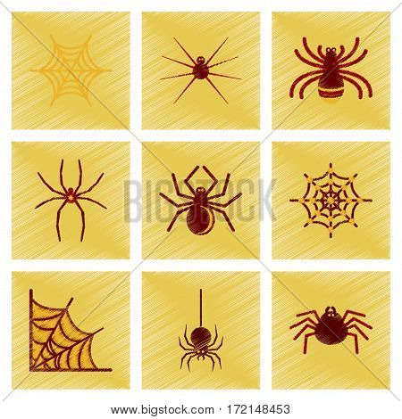 assembly flat shading style icons of halloween spider webs