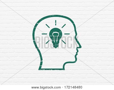 Information concept: Painted green Head With Lightbulb icon on White Brick wall background