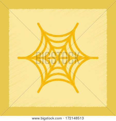 flat shading style icon of spider web