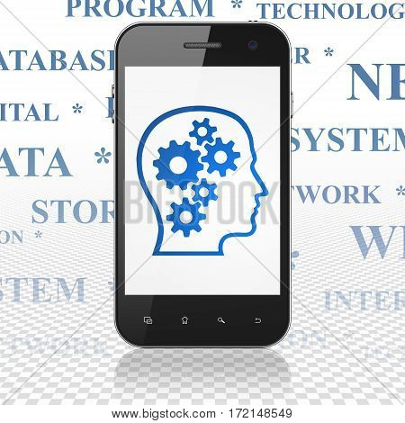 Data concept: Smartphone with  blue Head With Gears icon on display,  Tag Cloud background, 3D rendering