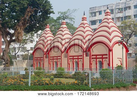 DHAKA, BANGLADESH - FEBRUARY 22, 2014: Exterior of the Dhakeshwari Hindu Temple in Dhaka, Bangladesh. It is the most important Hindu place of worship in Bangladesh.
