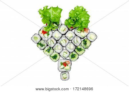 Roll Set lettuce, roll with cucumber roll with avocado, roll with seaweed on the white background