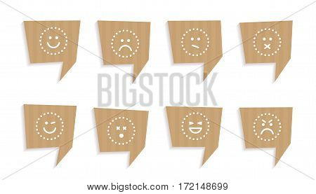 Vector illustration Set of speech bubbles cut out of craft paper or cardboard with mood icons. Stickers isolated on white.
