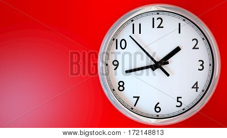Kitchen clock on a red wall. 3D Rendering