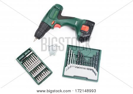 Cordless Screwdriver Or Drill Isolated On A White Background,electric Drill,screwdriver