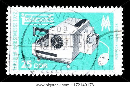 EAST GERMANY - CIRCA 1973 : Cancelled postage stamp printed by East Germany, that shows Projector.