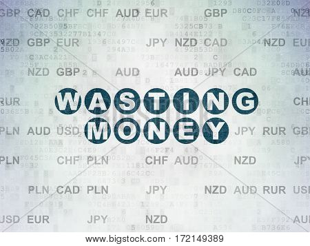 Currency concept: Painted blue text Wasting Money on Digital Data Paper background with Currency