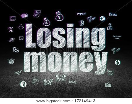 Money concept: Glowing text Losing Money,  Hand Drawn Finance Icons in grunge dark room with Dirty Floor, black background