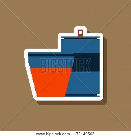 paper sticker on stylish background can of soda and glass