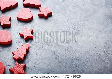 Decorative Fir-tree, Star And Heart On Grey Wooden Table