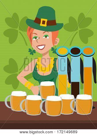 barwoman in green dress, St Patricks day festival - vector cartoon illustration