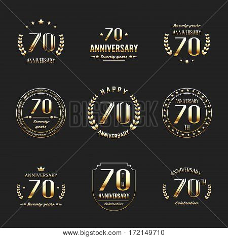 Seventy years anniversary celebration logotype. 70th anniversary logo collection.
