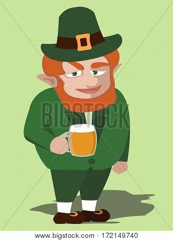 leprechaun character with beer mug - funny vector cartoon illustration