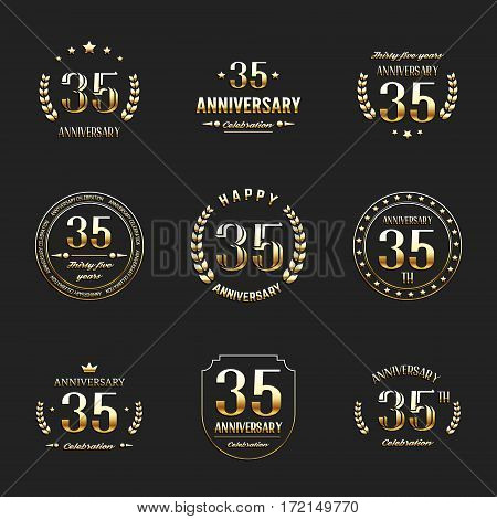 Thirty five years anniversary celebration logotype. 35th anniversary logo collection.