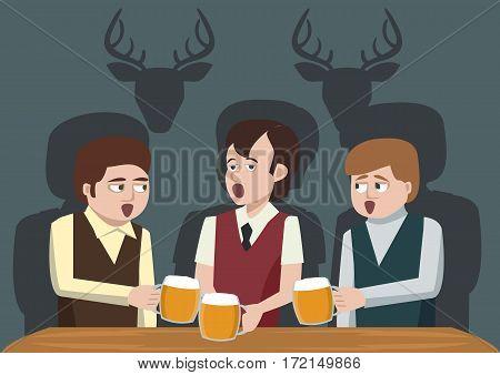 men drinking beer and singing - funny vector cartoon illustration