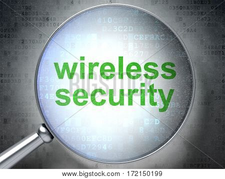 Privacy concept: magnifying optical glass with words Wireless Security on digital background, 3D rendering