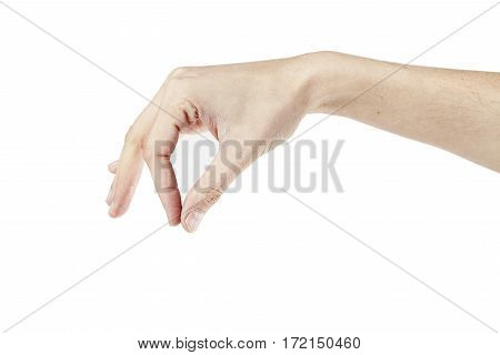 Man's hand isolated on white background different poses hand holding something