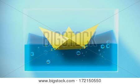 Paper folded boat sailing. 3D Rendering. Concept illustration.