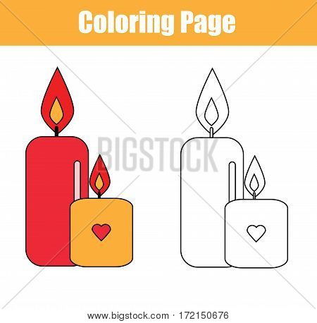 Coloring page with candles. Copy colors coloring book for kids. Printable sheet for children