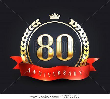 Eighty years anniversary banner. 80th anniversary logo. Vector illustration.