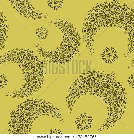 Oriental pattern, moon and stars. Islam, Arabic, Turkish, Moroccan motifs.