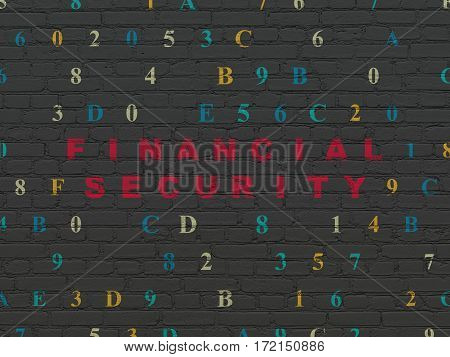 Security concept: Painted red text Financial Security on Black Brick wall background with Hexadecimal Code