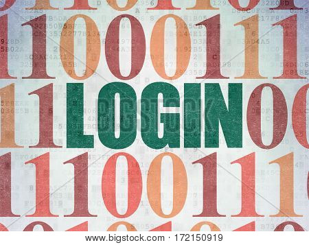 Security concept: Painted green text Login on Digital Data Paper background with Binary Code