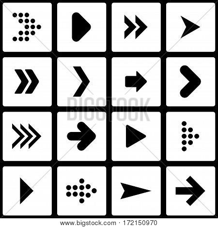 Set of stencil arrows. The vector illustration.