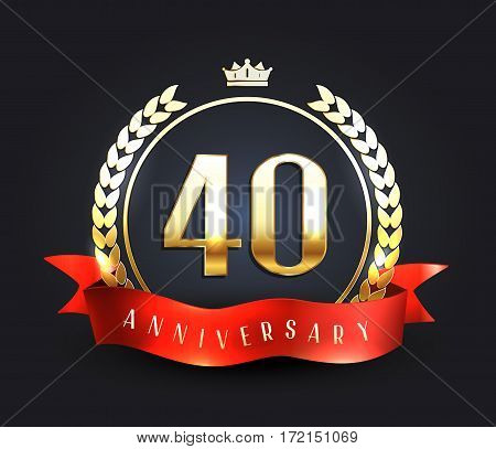 Forty years anniversary banner. 40th anniversary logo. Vector illustration.