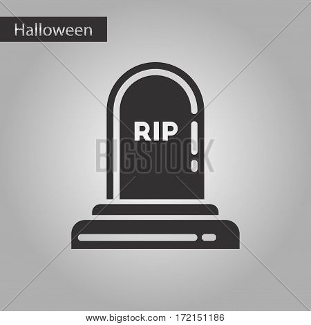 black and white style icon of halloween grave