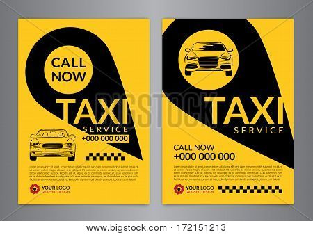 Set of taxi service business layout templates. A4 call taxi concept flyer. Vector illustration.