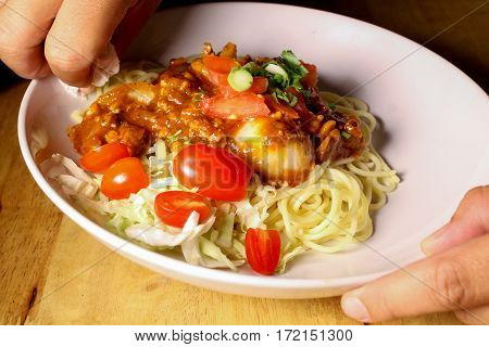 The Spaghetti, Pork Chops With Cherry Tomatoes.