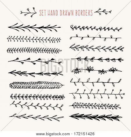 Set hand drawn line black border. Vintage vector drawing arrows to your template. Illustration with brush and ink. Scribble design element