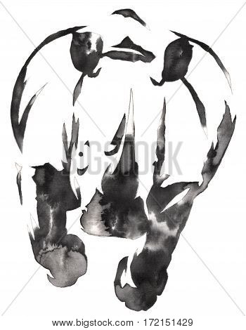 black and white painting with water and ink draw rhino illustration