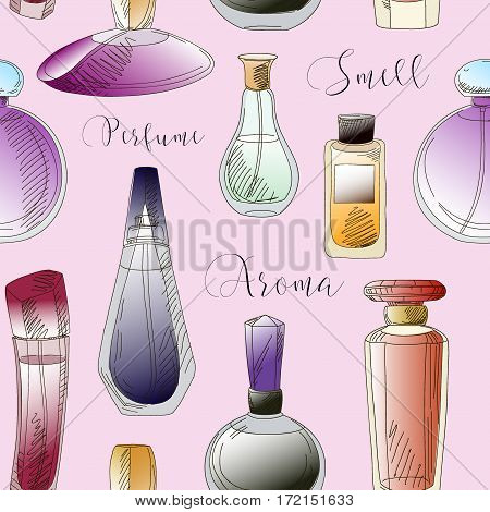 Set of vector perfume fashion pattern. Vector illustration, EPS 10