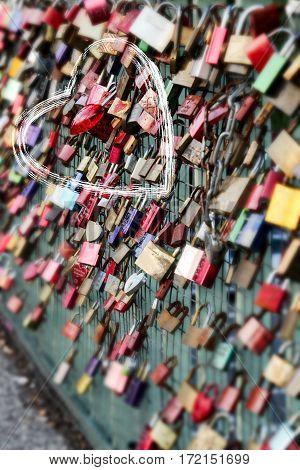 Love locks hang on a fence, Love, urban, city