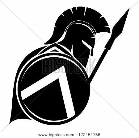 Black sign of spartan on a white background.