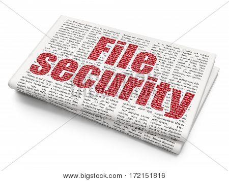Privacy concept: Pixelated red text File Security on Newspaper background, 3D rendering
