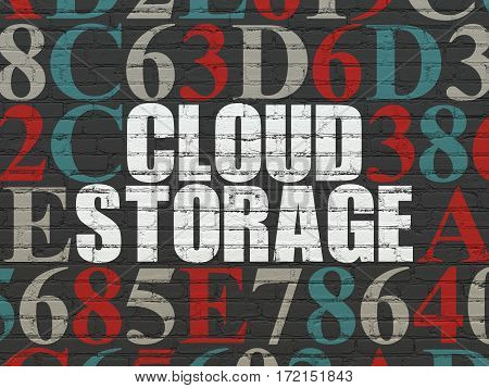 Protection concept: Painted white text Cloud Storage on Black Brick wall background with Hexadecimal Code