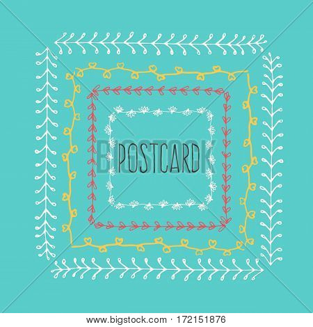 Ethnic postcard background with hand drawn line border. Vintage vector drawing frames to your template. Illustration with brush and ink. Scribble design element